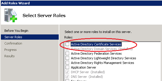 Certificates for exchange 2010 using internal ca zedan it blog on the select role services screen select certificate authority and certification authority web enrollment yelopaper Gallery