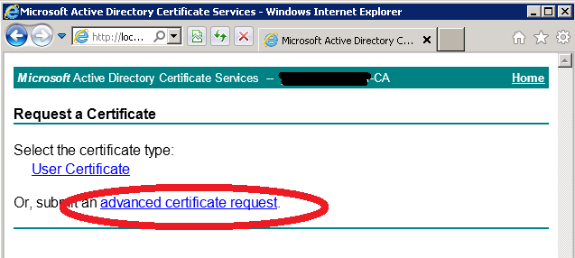 Certificates for exchange 2010 using internal ca zedan it blog then click on submit a certificate request yadclub Image collections