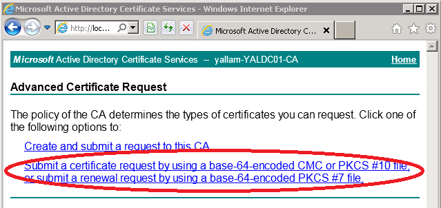 Certificates for exchange 2010 using internal ca zedan it blog open the certificate request file you created in exchange with notepad in our example here was ccert1q select all text yelopaper Gallery